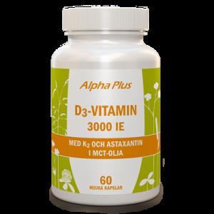 D3-vitamin 3000 IE + K2 60 kap burk
